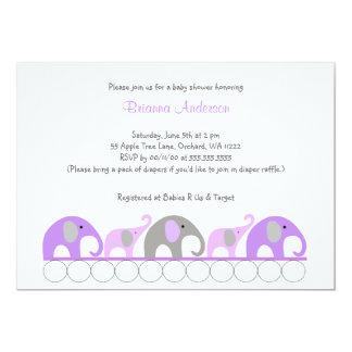 La fiesta de bienvenida al bebé púrpura y gris de invitación 12,7 x 17,8 cm