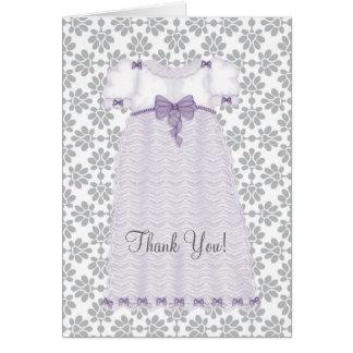 La fiesta de bienvenida al bebé púrpura y gris le tarjeta pequeña