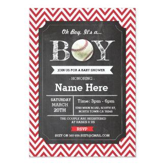 """La fiesta de bienvenida al bebé roja Chevron del Invitación 5"""" X 7"""""""