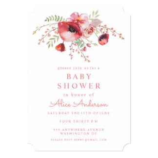 """La fiesta de bienvenida al bebé roja floral de las invitación 5"""" x 7"""""""