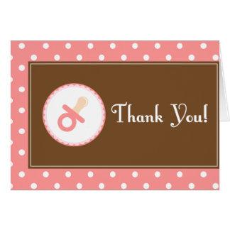 La fiesta de bienvenida al bebé (rosa) le agradece tarjeta pequeña