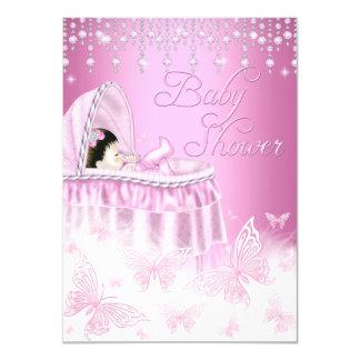 """La fiesta de bienvenida al bebé rosada bonita de invitación 4.5"""" x 6.25"""""""