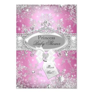 """La fiesta de bienvenida al bebé rosada de princesa invitación 4.5"""" x 6.25"""""""