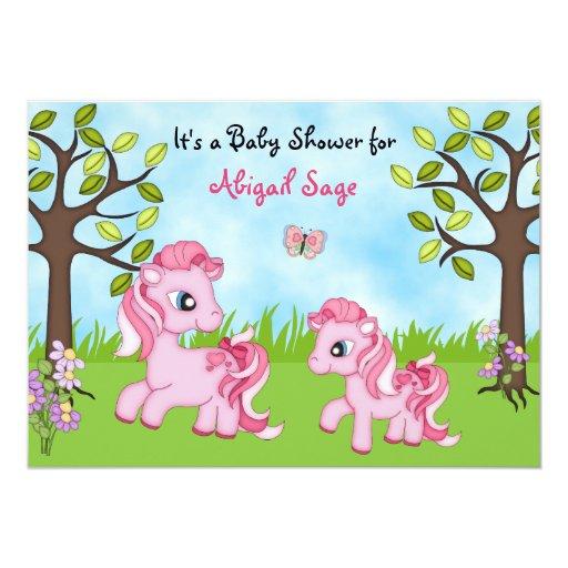 La fiesta de bienvenida al bebé rosada del caballo invitacion personalizada