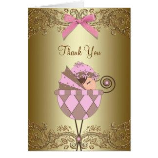La fiesta de bienvenida al bebé rosada del cordón tarjeta pequeña