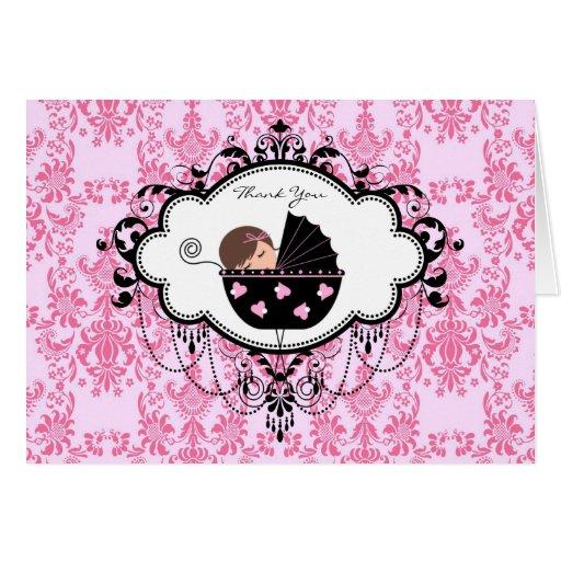 La fiesta de bienvenida al bebé rosada del damasco tarjeta pequeña