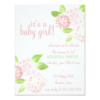 """La fiesta de bienvenida al bebé rosada del invitación 4.25"""" x 5.5"""""""