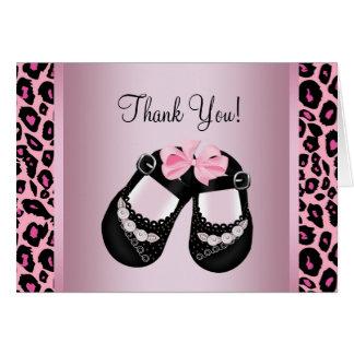 La fiesta de bienvenida al bebé rosada del leopard tarjeta pequeña
