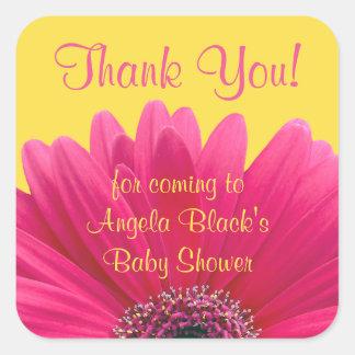 La fiesta de bienvenida al bebé rosada del calcomanía cuadrada