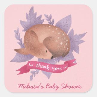 La fiesta de bienvenida al bebé rosada del pegatina cuadrada