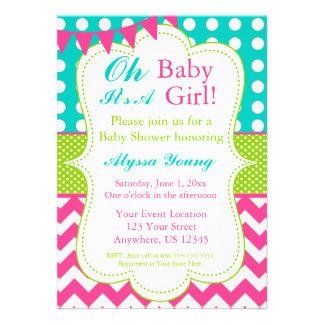 La fiesta de bienvenida al bebé rosada del verde d comunicado personal