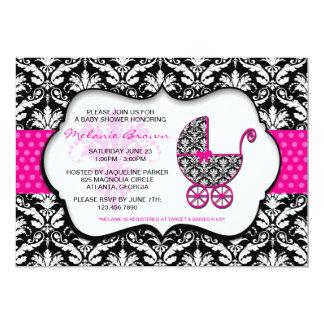 La fiesta de bienvenida al bebé rosada elegante comunicado