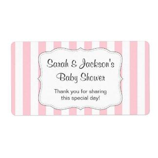 La fiesta de bienvenida al bebé rosada le agradece etiquetas de envío