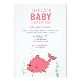 """La fiesta de bienvenida al bebé rosada linda del invitación 5"""" x 7"""""""