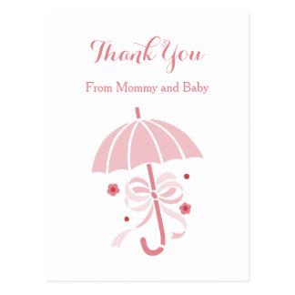 La fiesta de bienvenida al bebé rosada linda del tarjeta postal