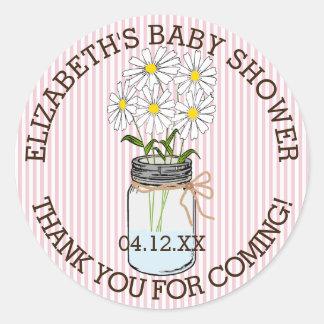La fiesta de bienvenida al bebé rosada y el blanco pegatina redonda