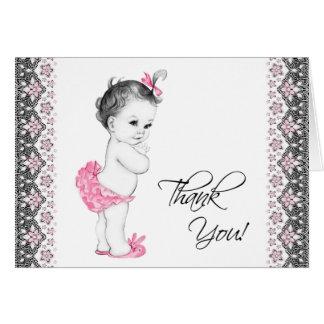 La fiesta de bienvenida al bebé rosada y negra ado felicitación