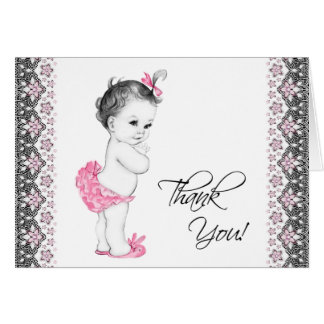 La fiesta de bienvenida al bebé rosada y negra tarjeta pequeña