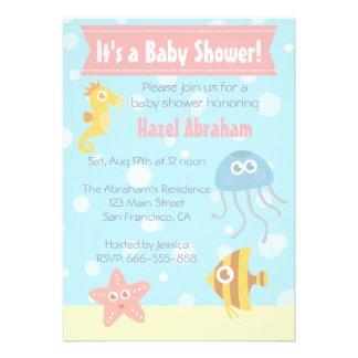 La fiesta de bienvenida al bebé subacuática del te invitación personalizada