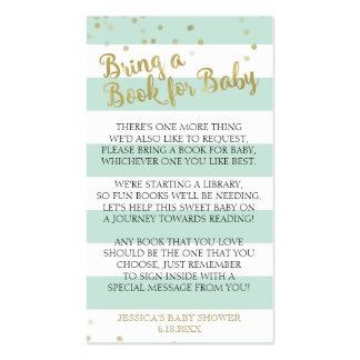 La fiesta de bienvenida al bebé verde de las rayas tarjetas de visita