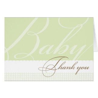 La fiesta de bienvenida al bebé verde le agradece  tarjeton