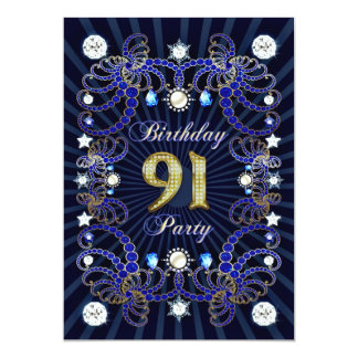 """la fiesta de cumpleaños 91sr invita con las masas invitación 5"""" x 7"""""""