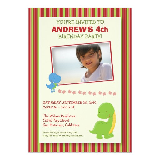 """La fiesta de cumpleaños adorable del dinosaurio invitación 5"""" x 7"""""""