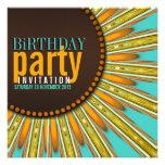 La fiesta de cumpleaños anaranjada de la menta mod anuncio