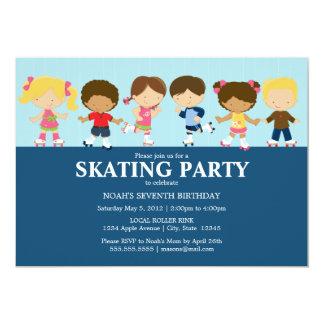 """La fiesta de cumpleaños azul de los patinadores el invitación 5"""" x 7"""""""