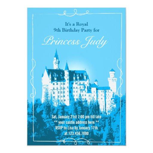 """La fiesta de cumpleaños azul del castillo blanco invitación 5"""" x 7"""""""