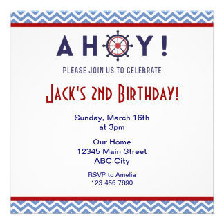 La fiesta de cumpleaños azul y roja náutica invita
