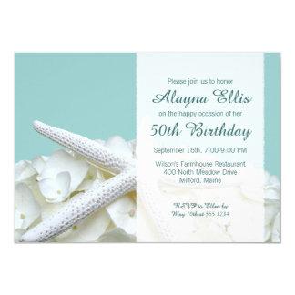 """La fiesta de cumpleaños blanca de los Hydrangeas Invitación 5"""" X 7"""""""