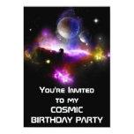 La fiesta de cumpleaños cósmica invita invitaciones personales
