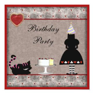 La fiesta de cumpleaños de Alicia y del gato de Invitación 13,3 Cm X 13,3cm