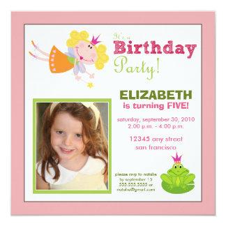 """La fiesta de cumpleaños de hadas caprichosa de los invitación 5.25"""" x 5.25"""""""