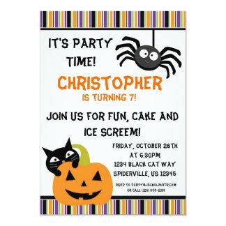 """La fiesta de cumpleaños de Halloween de la araña Invitación 5"""" X 7"""""""
