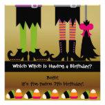 La fiesta de cumpleaños de Halloween de la bruja d Invitacion Personalizada