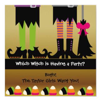 """La fiesta de cumpleaños de Halloween de las brujas Invitación 5.25"""" X 5.25"""""""