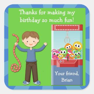 La fiesta de cumpleaños de la arcada le agradece pegatina cuadrada