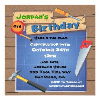 La fiesta de cumpleaños de la construcción de edif anuncio