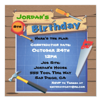 La fiesta de cumpleaños de la construcción de invitación 13,3 cm x 13,3cm