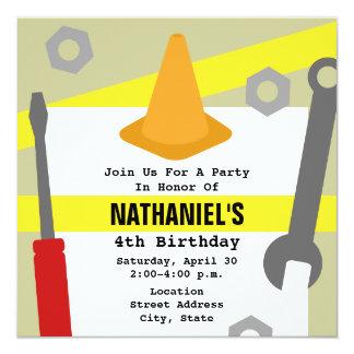 """La fiesta de cumpleaños de la construcción invita invitación 5.25"""" x 5.25"""""""