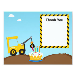 """La fiesta de cumpleaños de la construcción le invitación 4.25"""" x 5.5"""""""