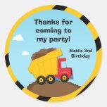 La fiesta de cumpleaños de la construcción le pegatinas redondas