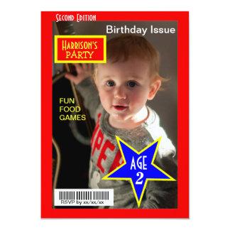 """La fiesta de cumpleaños de la foto de la revista invitación 5"""" x 7"""""""