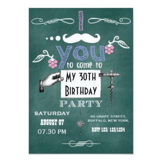 La fiesta de cumpleaños de la pizarra del bigote anuncios personalizados