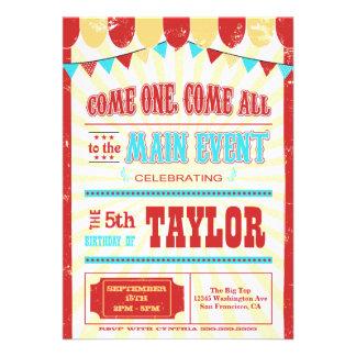 La fiesta de cumpleaños de la tipografía del circo anuncio