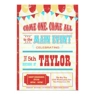 La fiesta de cumpleaños de la tipografía del circo anuncios personalizados