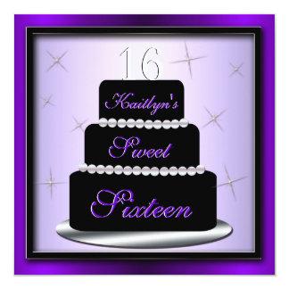 """La fiesta de cumpleaños de la torta acodada invita invitación 5.25"""" x 5.25"""""""