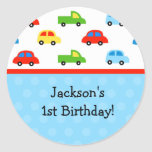 La fiesta de cumpleaños de los camiones de los pegatina redonda